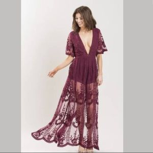 Other - Mila Burgundy Lace Jumpsuit